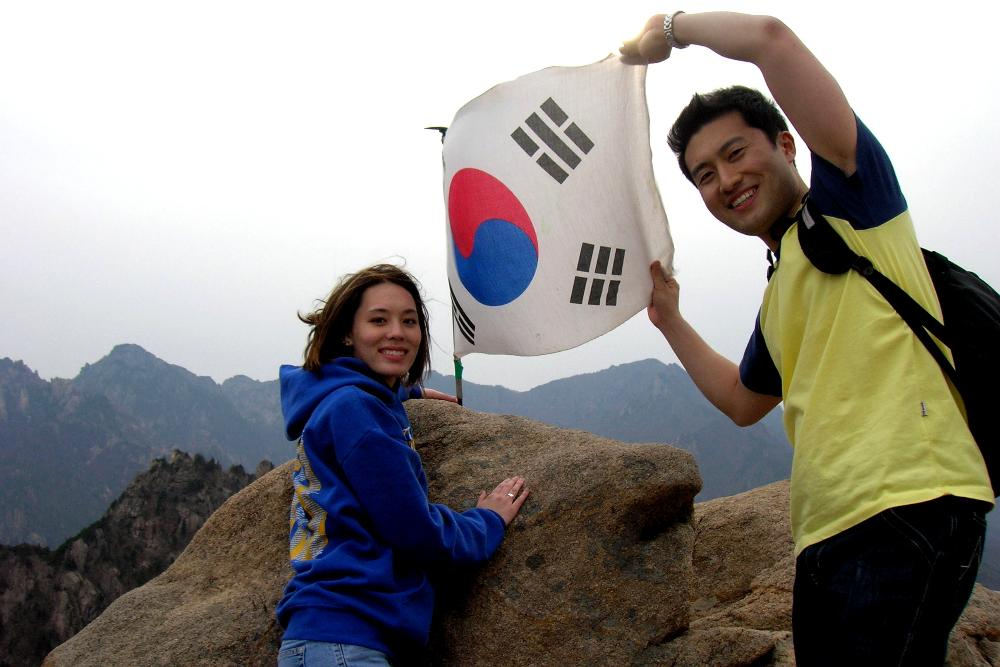 Korean flag and students